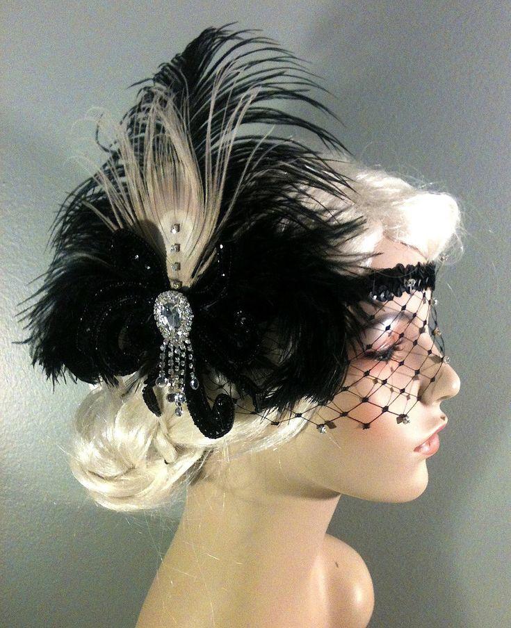 Art Deco Headband, Flapper Costume,1920s Head Piece,Ivory Peacock Feather, Black Ostrich Plumes, Black Sequins, Veil,