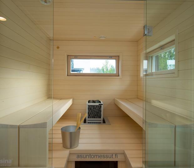 Estelle - Sauna | Asuntomessut Sauna - Lauteet: haapaa, valkovahattu Tikkurilan saunavahalla, Kovera laude / Kärävä Oy - Kiuas: Iki Cube