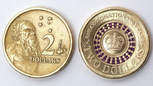 To celebrate the 60th anniversary of the Coronation of Queen Elizabeth II, two million $2 coins with purple detailing have been released into circulation. Australia is the second country in the world, behind Canada, to circulate coloured coins. The coins were released in Australia after months of meticulous preparation and design which included getting approval from Buckingham Palace