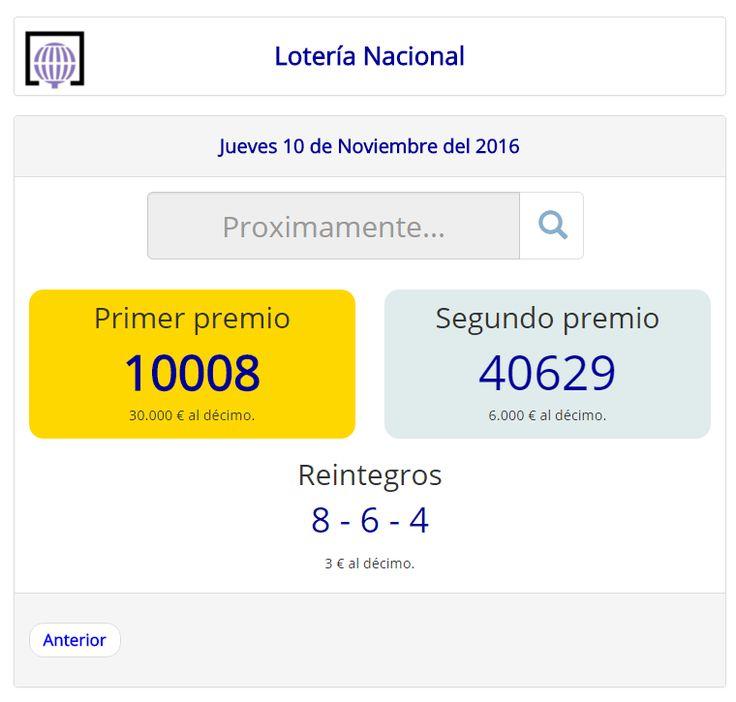 Resultados y comprobación de tu #décimo para el sorteo de #LoteríaNacional del #Jueves 10 de #Noviembre de 2016 #Lotería