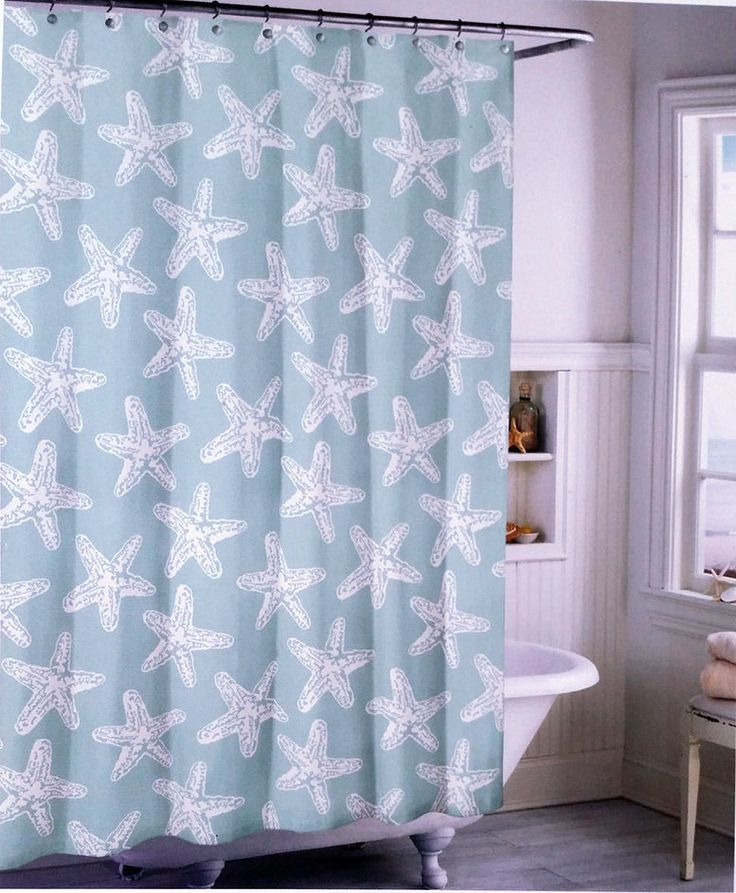 Coastal Collection Fabric Shower Curtain  Blue White Starfishes  #CoastalCollection #Contemporary