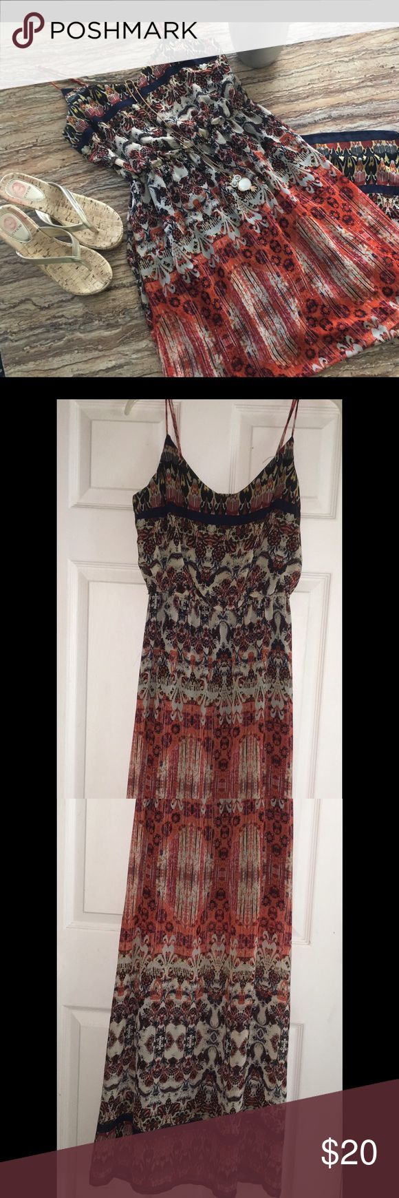 Beautiful Sundress Size Large also fits Clarke This is a beautiful Sundress is a size Large but also would fit a xlarge since it's not fitted. It's not see through, has a slip underneath. Excellent Condition as I only wore once. Maurices Dresses