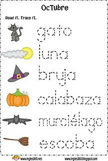 spanish words for october - Halloween Vocab Words