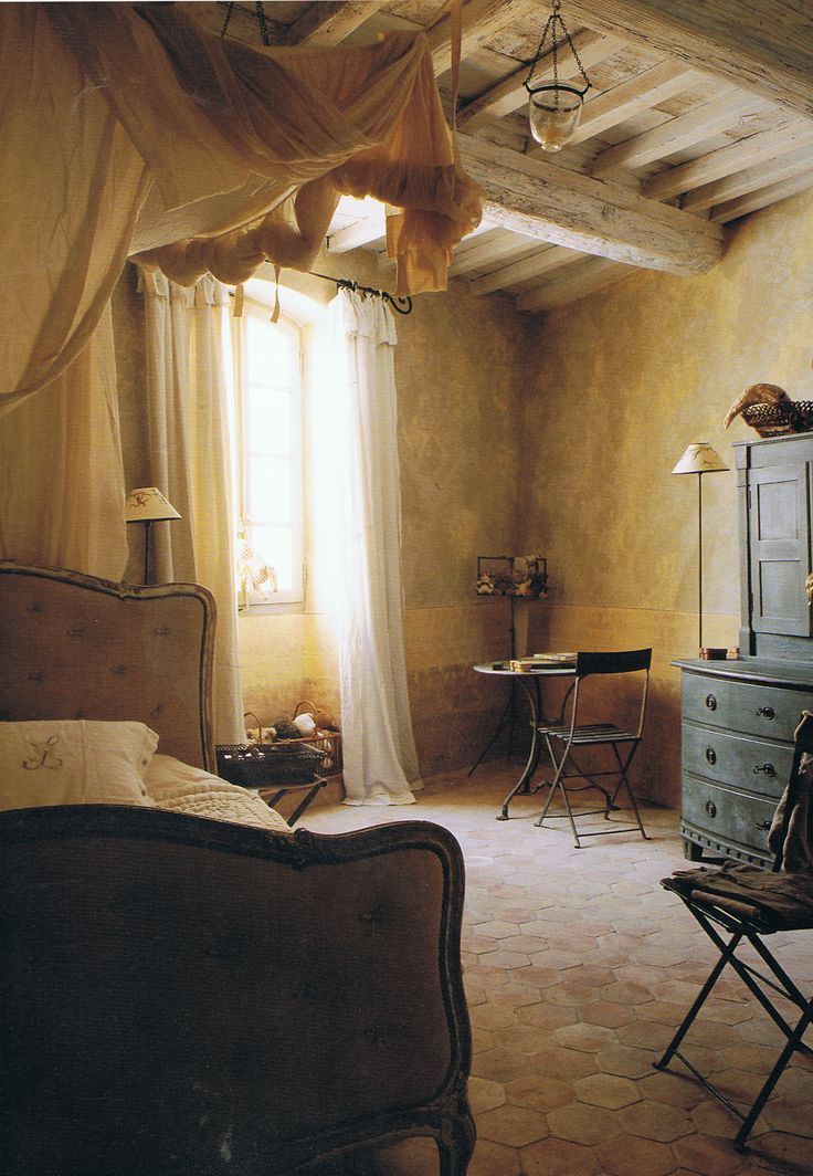 151 best rustic bedrooms images on pinterest rustic for Rustic french bedroom