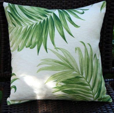Paradise Palm Sun Porch Pillow, outdoor, patio, summer. $22.00, via Etsy.