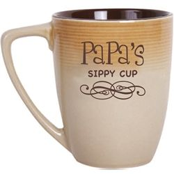 Papa coffee mug holds 14 oz of coffee and fun saying. Papa's Sippy Cup, neutral colors, microwave, dishwasher safe. Funny mug for Papa!