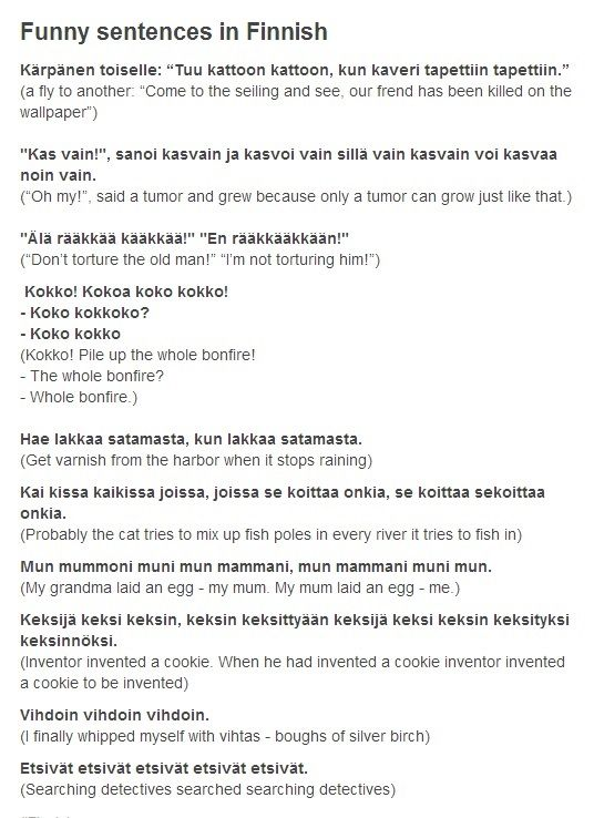 Finnish Tongue-Twisters