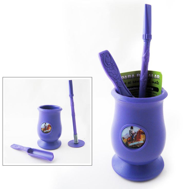 Argentina Mate Gourd Yerba Plastic Tea Cup With Straw Bombilla Kit Gift 9334 Pur