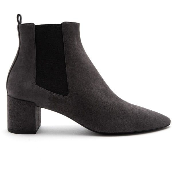 Saint Laurent Loulou suede chelsea boots (3 015 PLN) ❤ liked on Polyvore featuring shoes, boots, ankle booties, dark grey, round booties, chelsea boots, suede booties, chelsea bootie and pull on ankle boots