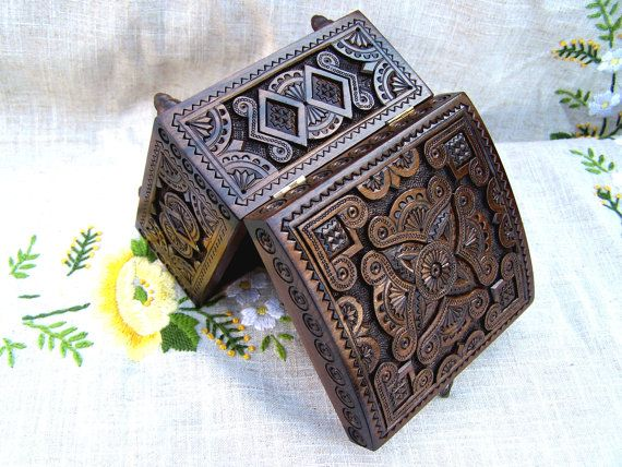Jewelry box Wooden box Carved wood box