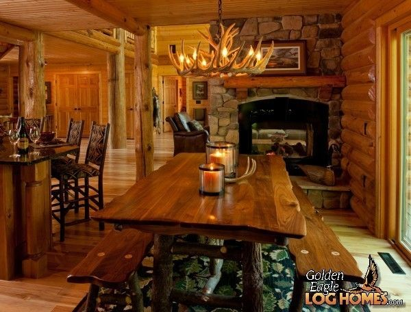 1892 best log homes images on pinterest wood cabins for Rustic dining area