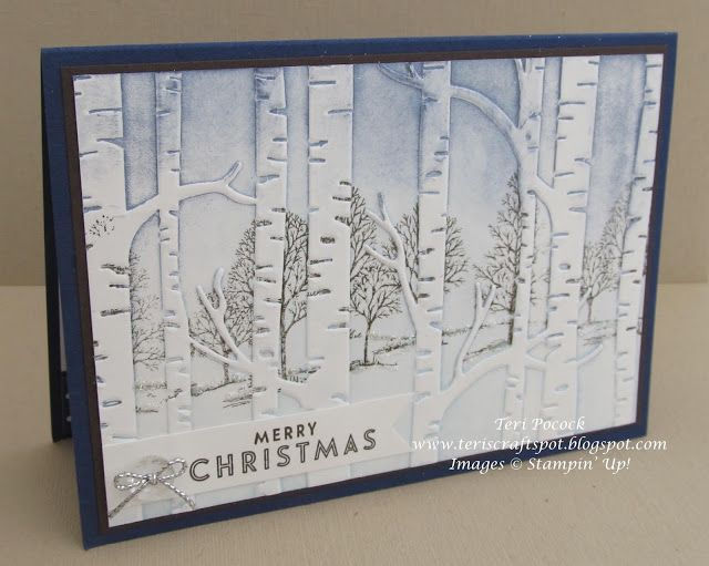 Stampin' Up! - Lovely As A Tree - With Woodland Embossing Folder .... Teri Pocock - http://teriscraftspot.blogspot.co.uk/2015/10/lovely-as-tree-with-woodland-embossing.html