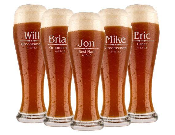 Groomsmen Gift, 7 Personalized Beer Glasses, Custom Engraved Pilsner Glass, Wedding Party Gifts, Gifts for Groomsmen, 16oz Glasses