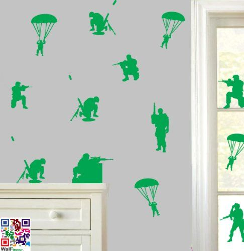 Toy Soldiers   Pack Of 18   Premium Quality Wall Art Vinyl Stickers   Easy  Peel