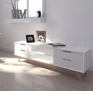 New Modern Scandi TV Unit White Television Stand Drawers 120cm or 150cm Length  | eBay