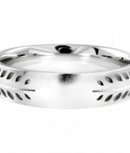 Bespoke laurel leaf wedding ring in 18ct white gold by Ingle & rhode