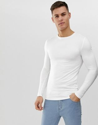 a4678ef3 ASOS DESIGN organic muscle fit long sleeve crew neck t-shirt with stretch  in white