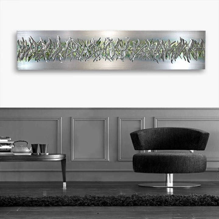 Etsy Silver & Green Modern Metal Wall Art, Abstract Wall Accent, Contemporary Wall Sculpture, Home and Of