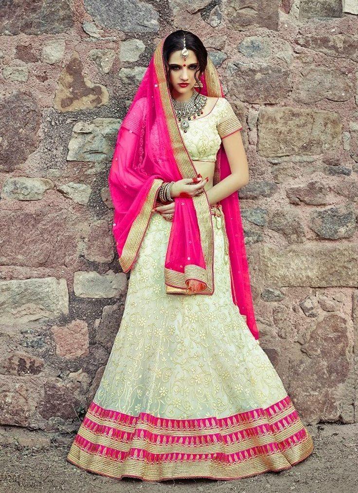 Ivory & Pink Net #Lehenga Choli With Embroidery Work