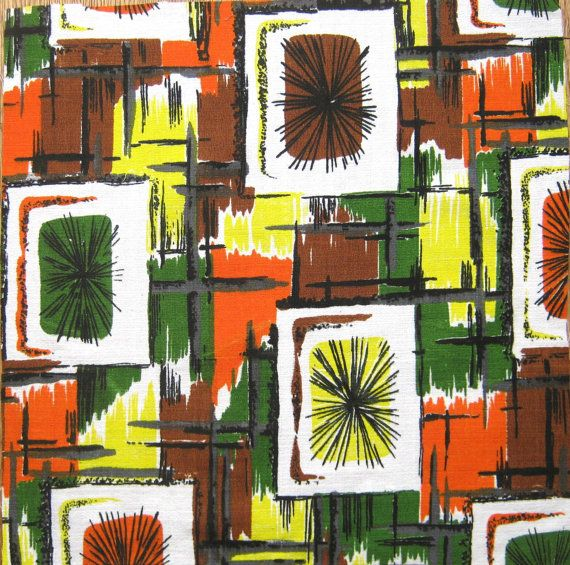 Amazingly Atomic! Unused original barkcloth fabric. This is a beautiful piece of original 1960s fabric in pristine unused condition. The fabric is a
