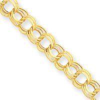 14k Lite 8.5mm Triple Link Charm Bracelet - 7 Inch - Lobster Claw - JewelryWeb JewelryWeb. $748.10. Save 50% Off!
