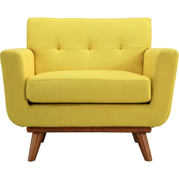 Steel | Lark Sunny Yellow Upholstered Engage Armchair found on Polyvore