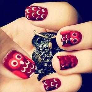 uñas con dibujos de buhos1 Imagen de uñas decoradas con dibujos de buhos