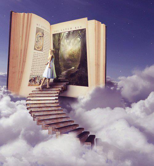 Me gusta mucho los conceptos del arte combinado con los libros... La idea que entras otro mundo cuando abres un libro. Para mi marca en particular, quiero comunicar como podemos derrumbar las fronteras literales y figurativas que existen entre personas, paises, culturas, etc. cuando tomamos el tiempor para entender las historias de las demás. Entonces, aunque no usaría un imagen exactamente como esa, me gusta la forma de expresar el poder de los libros a través de un imagen artistica.