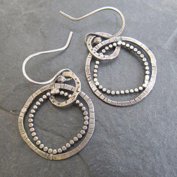 Medium Sterling Silver Hoop Earrings Funky Stamped Dots by artdi
