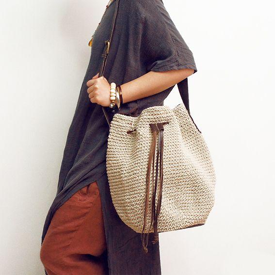 Bolsa linha de fluido artesanal das mulheres saco tecido saco de crochê couro de couro de um ombro cross body bolsa rústico das mulheres