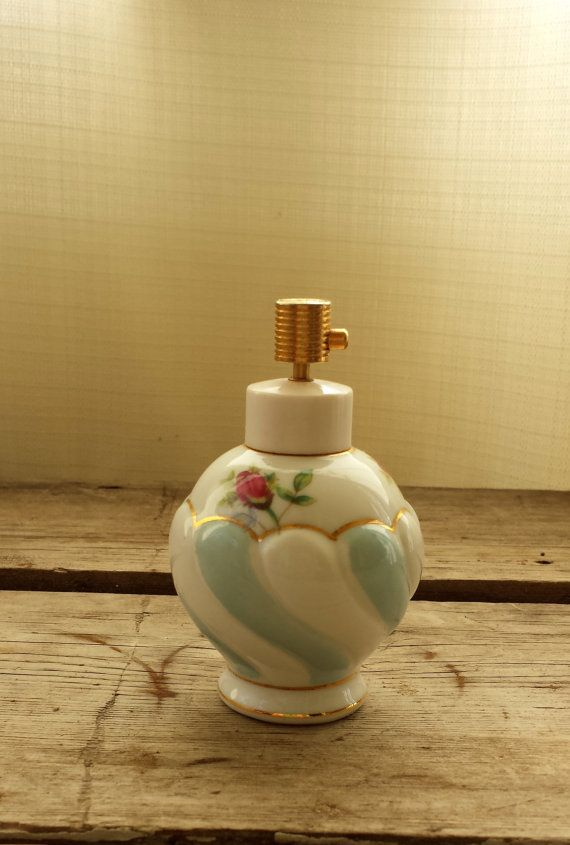 Vintage Irice Perfume Bottle. Hand Painted Perfume Bottle. Mid Century. Ladies Perfume Bottle with Gilding and Roses.