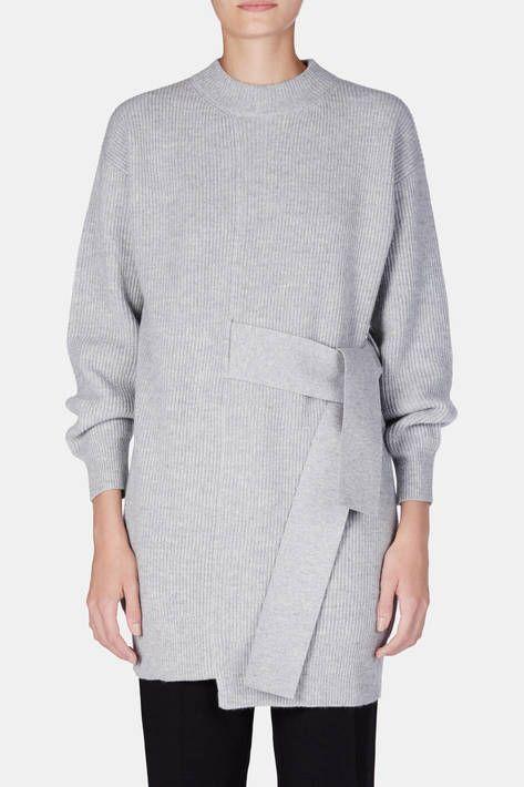 Proenza Schouler — L/S Knit Dress With Tie Light Grey Melange — THE LINE