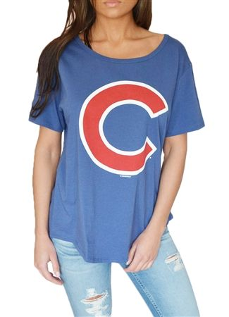 Chicago Cubs Womens Flowy Boyfriend Tee
