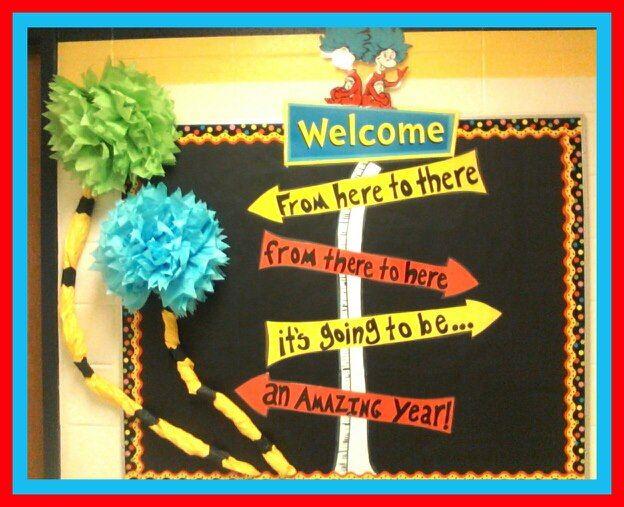 Seuss bulletin board for beginning of year.