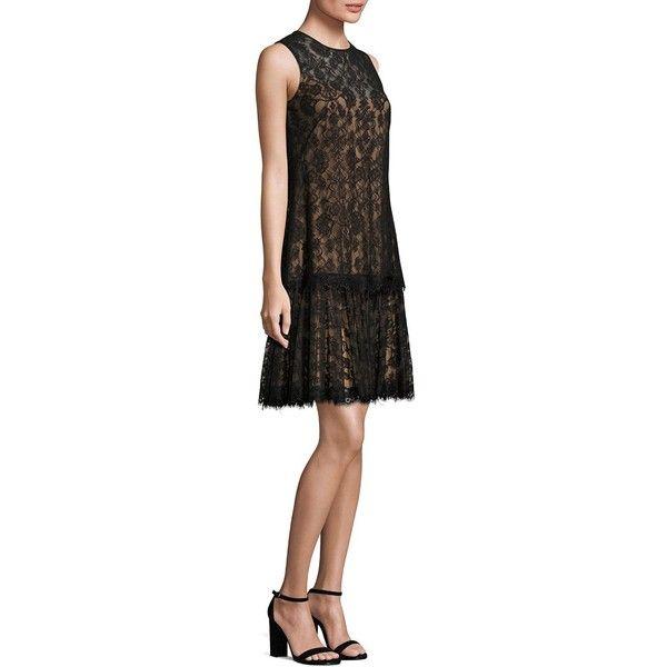 Tadashi Shoji Sleeveless Floral Lace Dress (1.160 BRL) ❤ liked on Polyvore featuring dresses, sleeveless lace dress, flower print dress, lacy dress, lace dress and scalloped dress