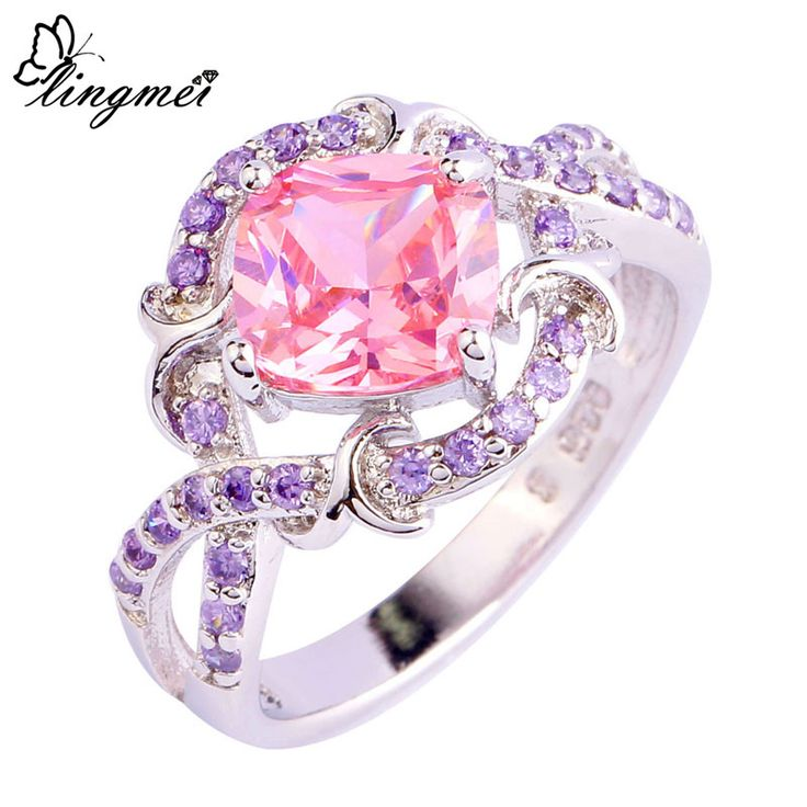 lingmei Wholesale Fashion Lady Pink CZ & Amethyst Jewelry Silver Ring Size 6 7 8 9 10 Women Unique Design Free Shipping 754R8