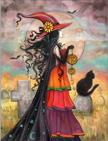 Witch Way - Halloween Witch and Black Cat Giclee Print of Original Painting by…