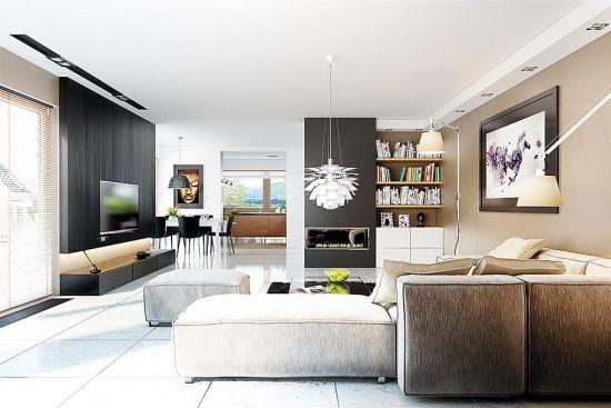 Living open space cu dining amenajat minimalist