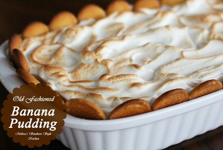 This Old Fashioned Banana Pudding features a homemade vanilla custard and it's topped with billows of meringue. Southern comfort dessert food at it's finest.