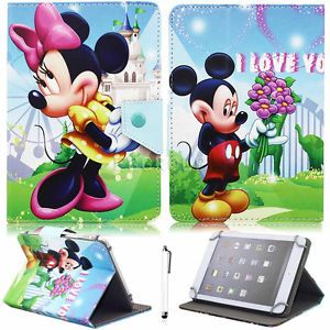 "Universal Mickey Minnie Disney PU Leather Case Cover For 7"" 10"" 10.1"" Tablet PC 
