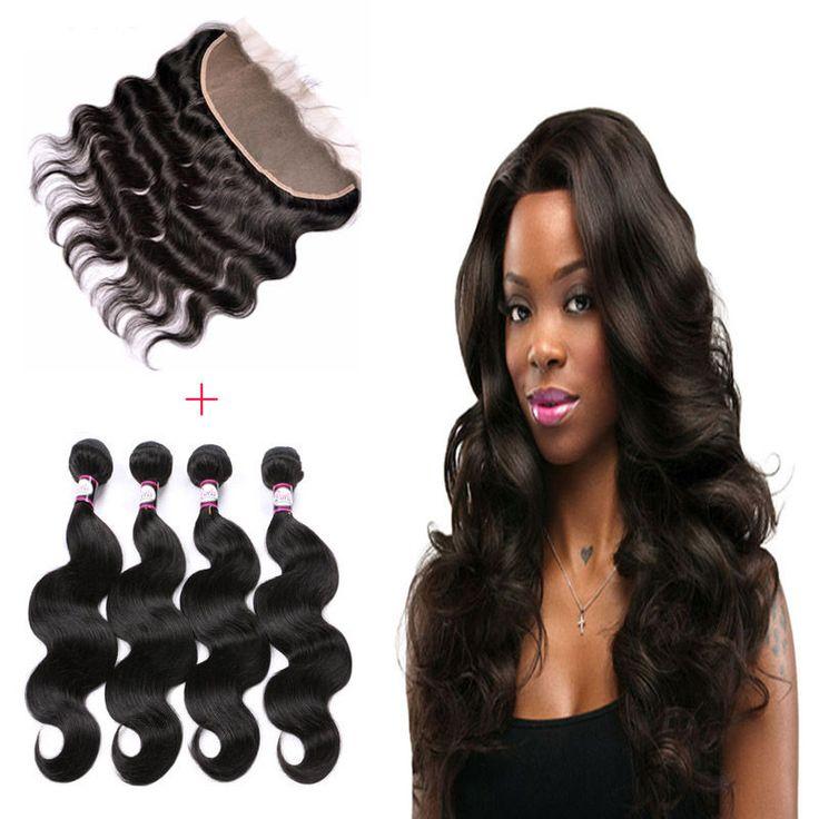 13*4Lace Frontal Closure with 4Bundles Brazilian Virgin Hair Body Wave Full Head #Freewinds #WaveBundle