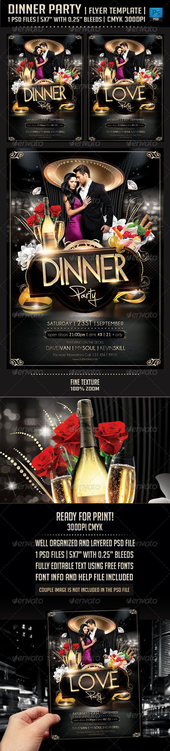 Poster design using photoshop - Dinner Party Flyer Template