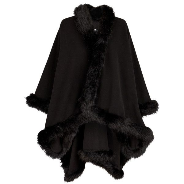V By Very Premium Faux Fur Trim Cape ($37) ❤ liked on Polyvore featuring outerwear, cape coat and faux fur trim cape