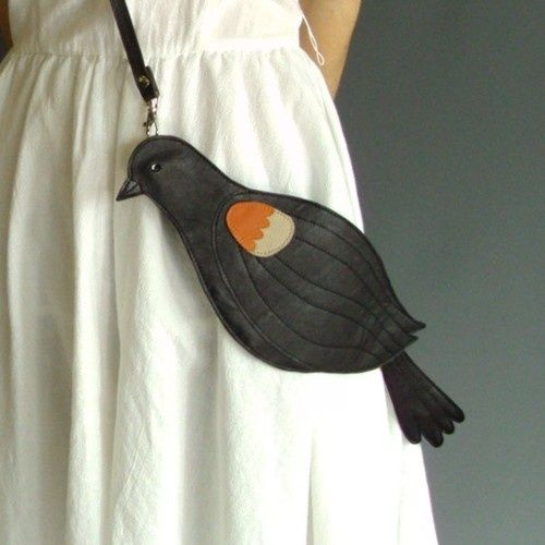(via Leather Red Winged Blackbird Bag Clutch by broundoor ... | [clot…