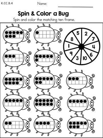Spin & Color a Bug >> Counting and ten frames activity from the Spring Kindergarten Maths Worksheet packet