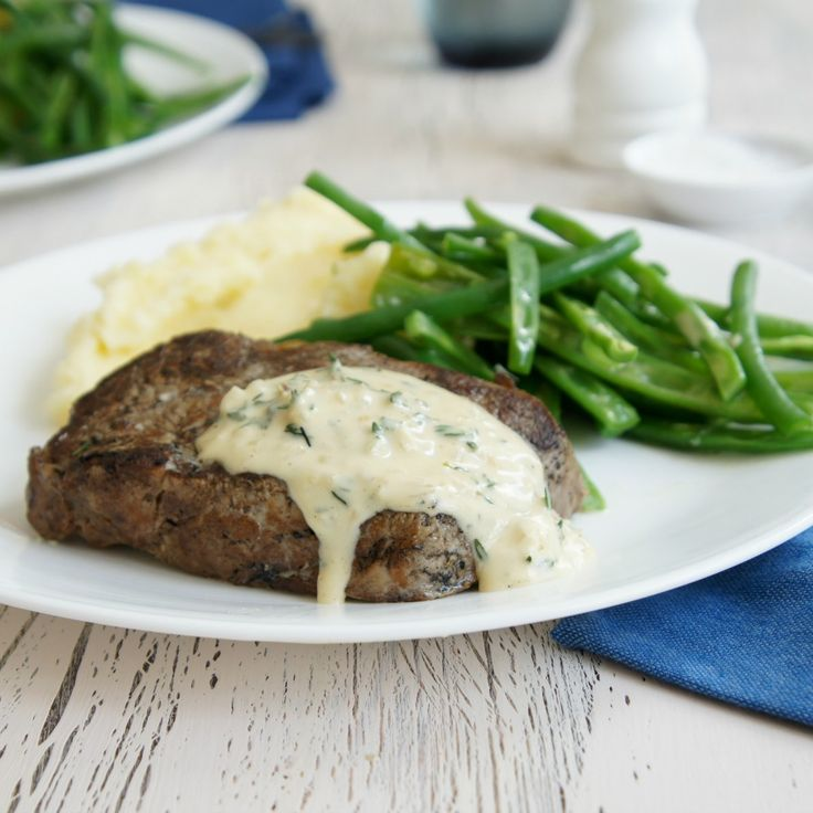 Date night at home this weekend? How's about this Scotch Fillet Steak with Blue Cheese Sauce and Mashed Potatoes?