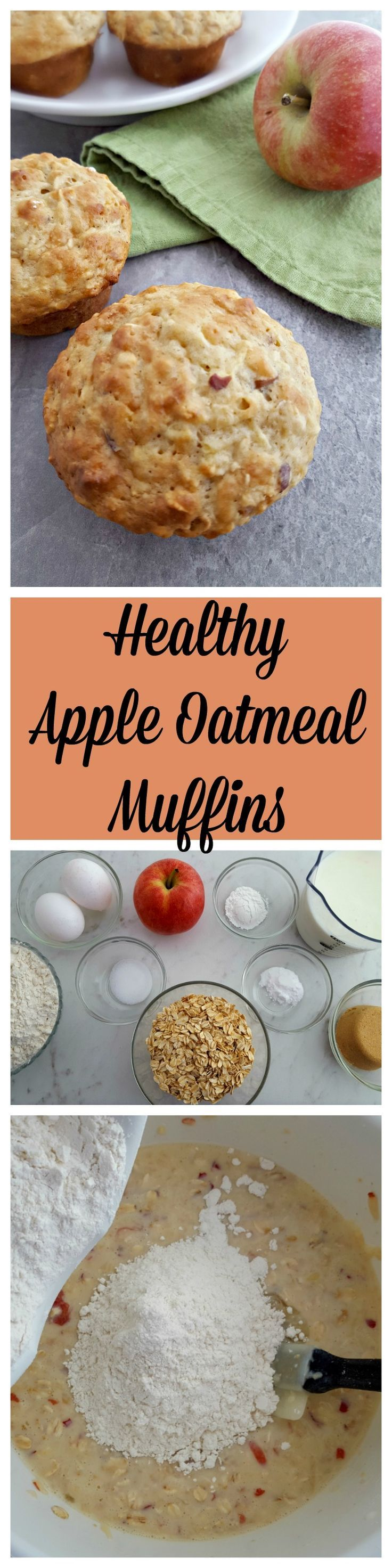 These Healthy Apple Oatmeal Muffins are a great way to start your morning, or give your afternoon a boost with a snack!