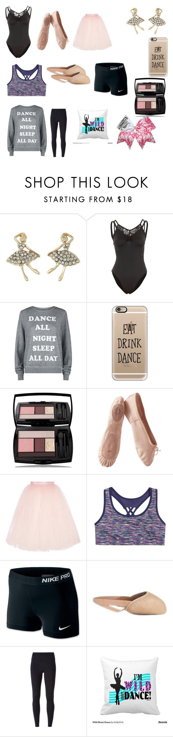 """Dance practice outfits"" by lizbiz1315 ❤ liked on Polyvore featuring Betsey Johnson, Wildfox, Casetify, Lancôme, Porselli, Ballet Beautiful, NIKE and Capezio"