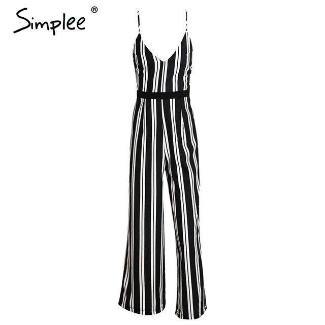 Deep V Backless Jumpsuit Romper Bodysuit Black Stripe Chiffon Bodysuit Summer