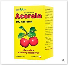 Acerola tabletki 500mg naturalna witamina C 100tabl